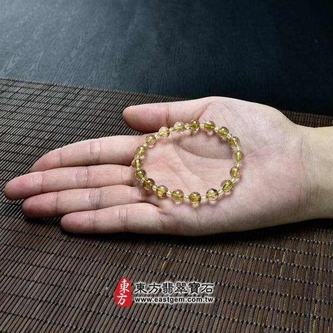 髮晶手鍊大小示意圖照片 髮晶手鍊(髮晶珠子,髮晶珠徑約7mm、透明格珠珠徑約3mm,OFJ228) 客製化設計各種髮晶珠串、髮晶珠子、髮晶手珠。★附東方翡翠寶石保證卡