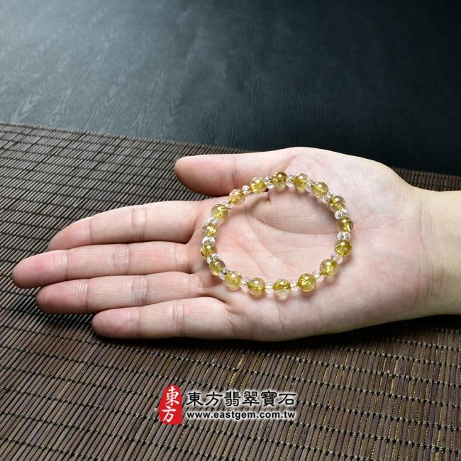 髮晶手鍊大小示意圖照片 髮晶手鍊(髮晶珠子,髮晶珠徑約7mm、透明格珠珠徑約5~5.5mm,OFJ231) 客製化設計各種髮晶珠串、髮晶珠子、髮晶手珠。★附東方翡翠寶石保證卡