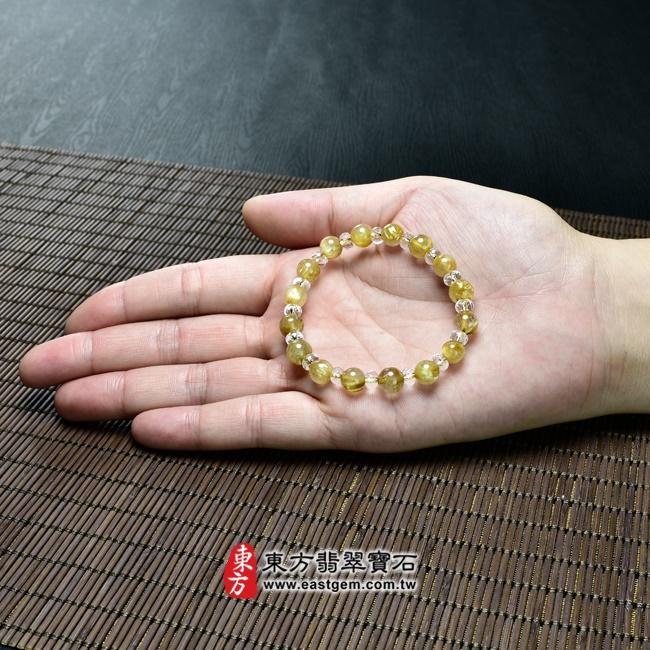 髮晶天然玉石珠串手鍊大小示意圖  髮晶手鍊(髮晶珠子,髮晶珠徑約7~7.5mm、透明格珠珠徑約5~5.5mm,OFJ163) 客製化設計各種髮晶珠串、髮晶珠子、髮晶手珠。★附東方翡翠寶石保證卡.jpg