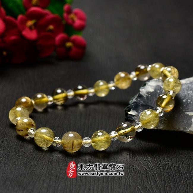 髮晶手鍊左側照片 髮晶手鍊(髮晶珠子,髮晶珠徑約7~7.5mm、透明格珠珠徑約3mm,OFJ234) 客製化設計各種髮晶珠串、髮晶珠子、髮晶手珠。★附東方翡翠寶石保證卡