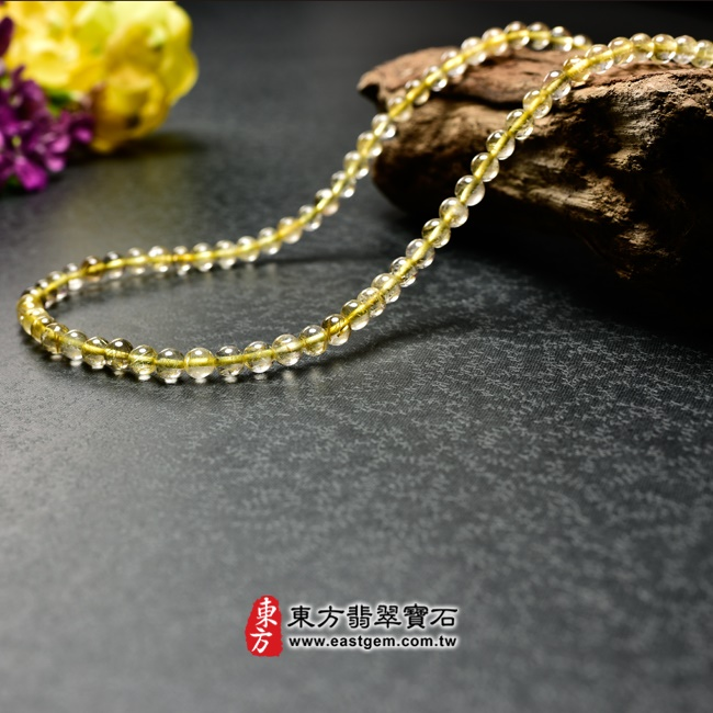 髮晶項鍊左側照片 髮晶項鍊(髮晶珠子,珠徑約5mm,OFJ237) 客製化設計各種髮晶珠串、髮晶珠子、髮晶項鍊、髮晶手珠。★附東方翡翠寶石保證卡
