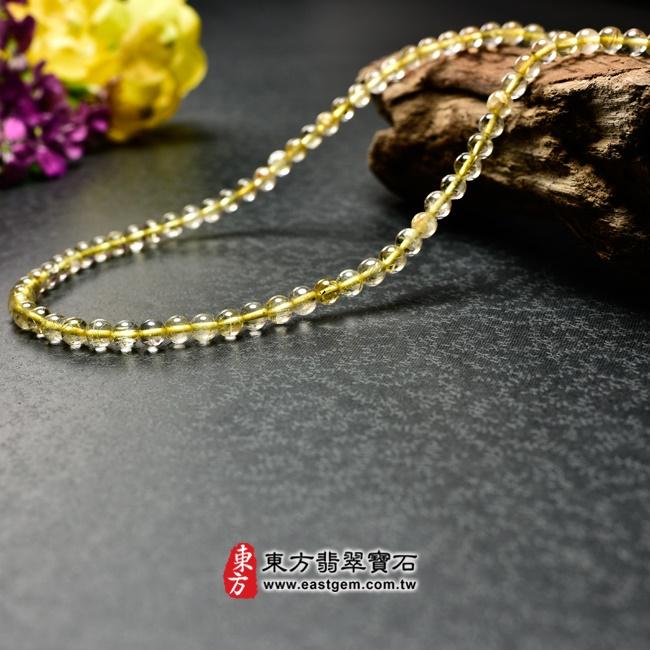 髮晶項鍊右側照片 髮晶項鍊(髮晶珠子,珠徑約5mm,OFJ237) 客製化設計各種髮晶珠串、髮晶珠子、髮晶項鍊、髮晶手珠。★附東方翡翠寶石保證卡