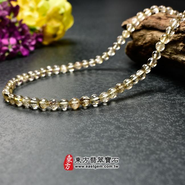 髮晶項鍊右側照片 髮晶項鍊(髮晶珠子,珠徑約6~6.5mm,OFJ240) 客製化設計各種髮晶珠串、髮晶珠子、髮晶項鍊、髮晶手珠。★附東方翡翠寶石保證卡