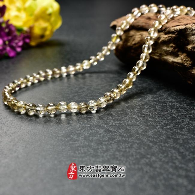 髮晶項鍊左側照片 髮晶項鍊(髮晶珠子,珠徑約6~6.5mm,OFJ240) 客製化設計各種髮晶珠串、髮晶珠子、髮晶項鍊、髮晶手珠。★附東方翡翠寶石保證卡