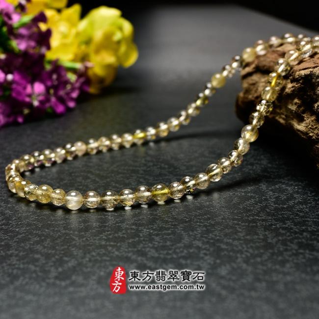 髮晶項鍊左側照片 髮晶項鍊(髮晶珠子,珠徑約6~6.5mm,OFJ241) 客製化設計各種髮晶珠串、髮晶珠子、髮晶項鍊、髮晶手珠。★附東方翡翠寶石保證卡
