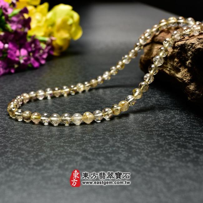 髮晶項鍊左側照片 髮晶項鍊(髮晶珠子,珠徑約6~6.5mm,OFJ242) 客製化設計各種髮晶珠串、髮晶珠子、髮晶項鍊、髮晶手珠。★附東方翡翠寶石保證卡