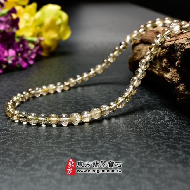髮晶項鍊右側照片 髮晶項鍊(髮晶珠子,珠徑約6~6.5mm,OFJ242) 客製化設計各種髮晶珠串、髮晶珠子、髮晶項鍊、髮晶手珠。★附東方翡翠寶石保證卡