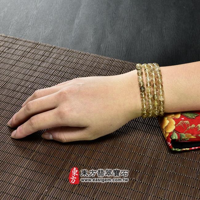 髮晶項鍊大小示意圖照片 髮晶項鍊(髮晶珠子,珠徑約6~6.5mm,OFJ242) 客製化設計各種髮晶珠串、髮晶珠子、髮晶項鍊、髮晶手珠。★附東方翡翠寶石保證卡