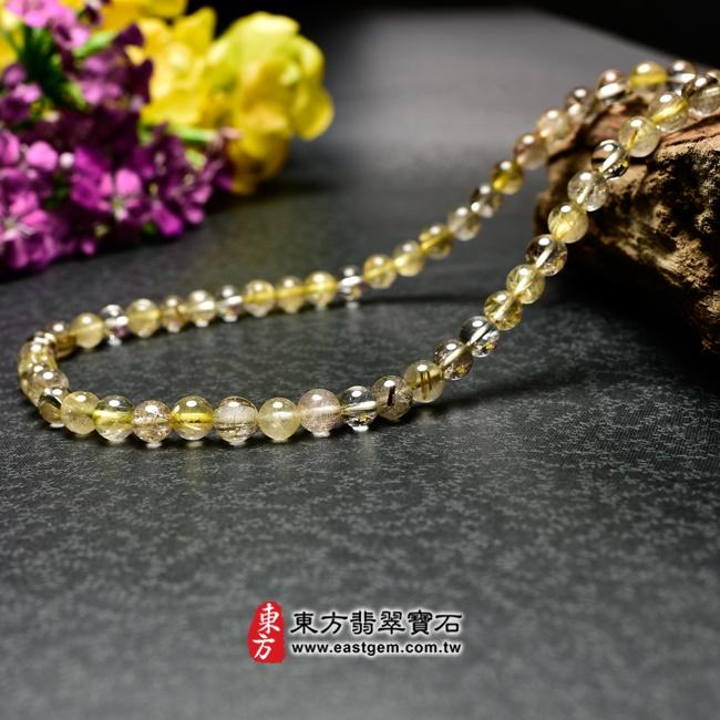 髮晶項鍊右側照片 髮晶項鍊(髮晶珠子,珠徑約7~7.5mm,OFJ243) 客製化設計各種髮晶珠串、髮晶珠子、髮晶項鍊、髮晶手珠。★附東方翡翠寶石保證卡