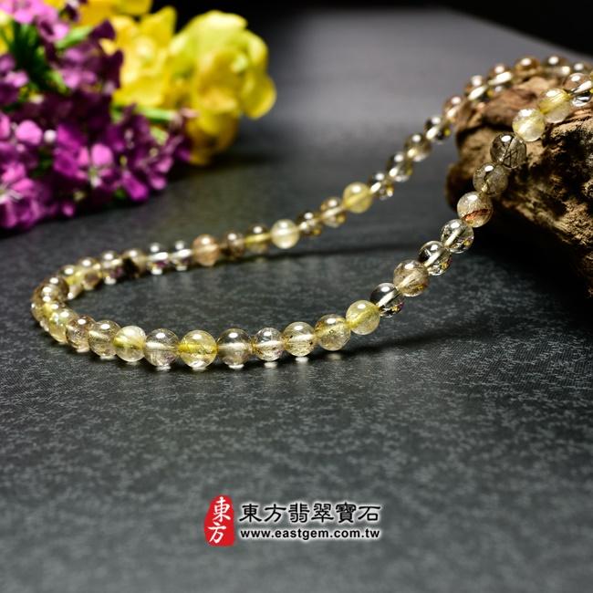髮晶項鍊左側照片 髮晶項鍊(髮晶珠子,珠徑約7~7.5mm,OFJ243) 客製化設計各種髮晶珠串、髮晶珠子、髮晶項鍊、髮晶手珠。★附東方翡翠寶石保證卡