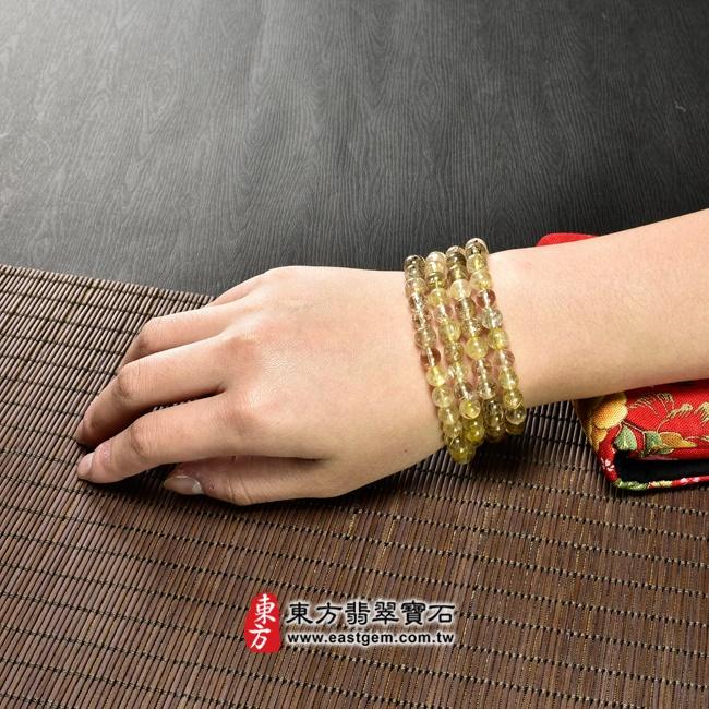 髮晶項鍊大小示意圖照片 髮晶項鍊(髮晶珠子,珠徑約7~7.5mm,OFJ243) 客製化設計各種髮晶珠串、髮晶珠子、髮晶項鍊、髮晶手珠。★附東方翡翠寶石保證卡