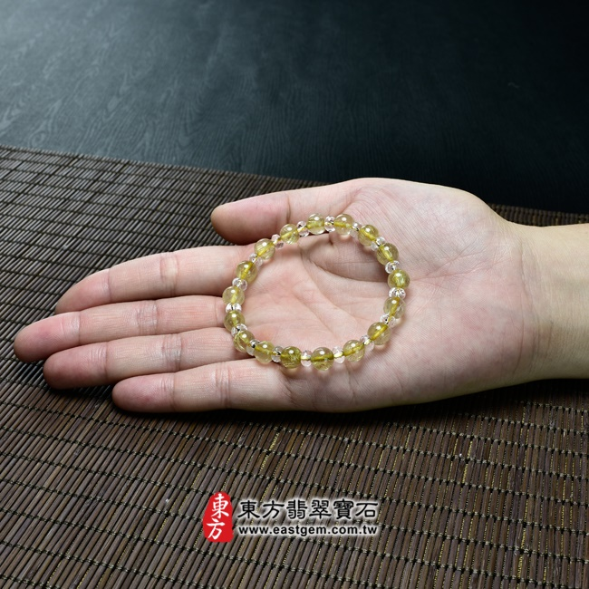 髮晶天然玉石珠串手鍊大小示意圖  髮晶手鍊(髮晶珠子,髮晶珠徑約7~7.5mm、透明格珠珠徑約5~5.5mm,OFJ174) 客製化設計各種髮晶珠串、髮晶珠子、髮晶手珠。★附東方翡翠寶石保證卡.jpg