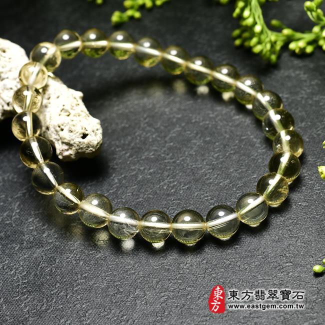 黃水晶天然玉石珠串手鍊左側照片  黃水晶手鍊(黃水晶珠子,珠徑約7mm,OYB005) 客製化設計各種黃水晶珠串、黃水晶珠子、黃水晶手鍊、黃水晶手珠。★附東方翡翠寶石保證卡