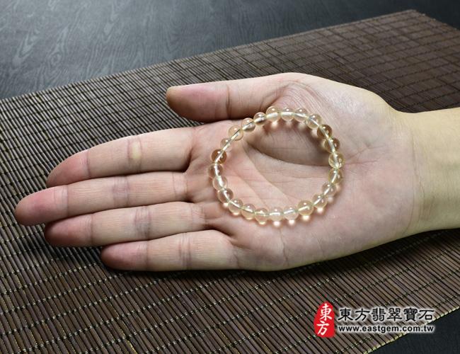 黃水晶天然玉石珠串手鍊大小示意圖  黃水晶手鍊(黃水晶珠子,珠徑約7mm,OYB009) 客製化設計各種黃水晶珠串、黃水晶珠子、黃水晶手鍊、黃水晶手珠。★附東方翡翠寶石保證卡