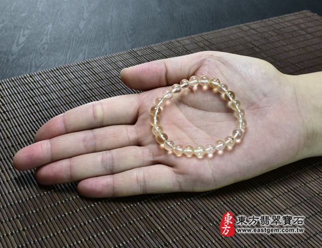 黃水晶天然玉石珠串手鍊大小示意圖  黃水晶手鍊(黃水晶珠子,珠徑約7mm,OYB011) 客製化設計各種黃水晶珠串、黃水晶珠子、黃水晶手鍊、黃水晶手珠。★附東方翡翠寶石保證卡
