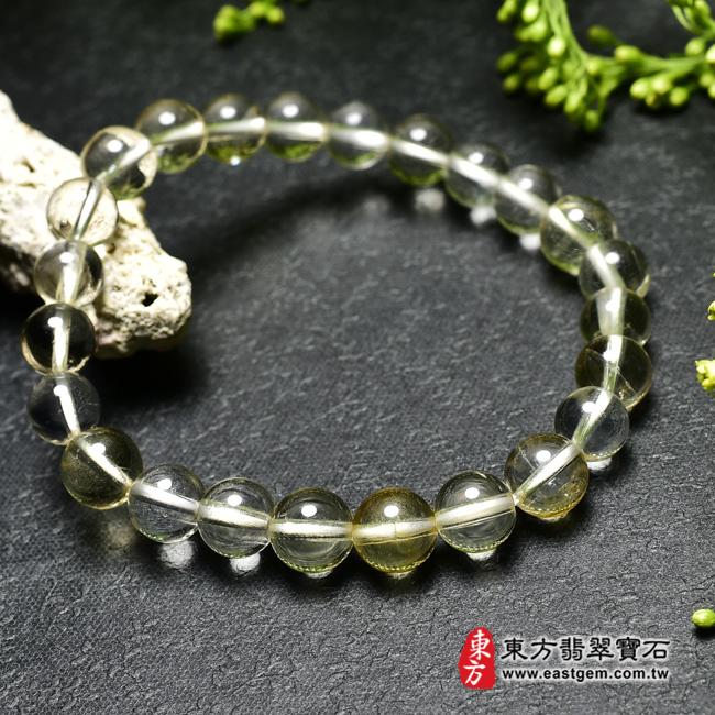 黃水晶天然玉石珠串手鍊左側照片  黃水晶手鍊(黃水晶珠子,珠徑約7mm,OYB014) 客製化設計各種黃水晶珠串、黃水晶珠子、黃水晶手鍊、黃水晶手珠。★附東方翡翠寶石保證卡