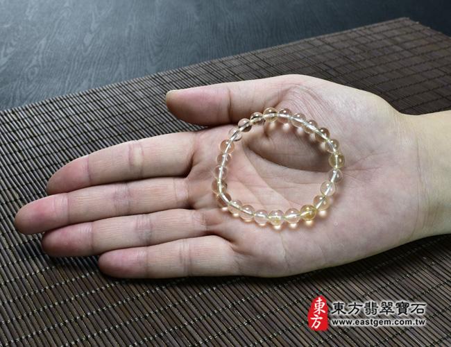 黃水晶天然玉石珠串手鍊大小示意圖  黃水晶手鍊(黃水晶珠子,珠徑約7mm,OYB014) 客製化設計各種黃水晶珠串、黃水晶珠子、黃水晶手鍊、黃水晶手珠。★附東方翡翠寶石保證卡