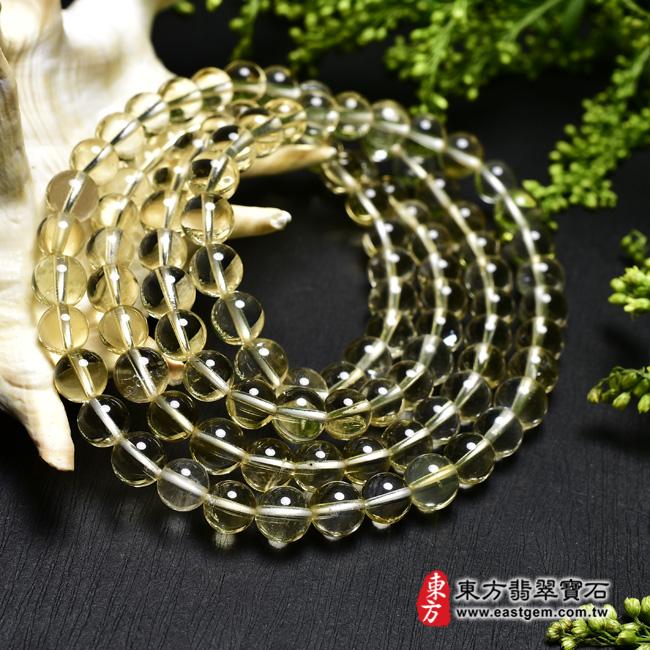黃水晶天然玉石珠串手鍊左側照片  黃水晶手鍊(黃水晶珠子,珠徑約7mm,OYB016) 客製化設計各種黃水晶珠串、黃水晶珠子、黃水晶手鍊、黃水晶手珠。★附東方翡翠寶石保證卡