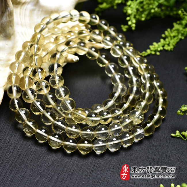 黃水晶天然玉石珠串手鍊左側照片  黃水晶手鍊(黃水晶珠子,珠徑約7mm,OYB018) 客製化設計各種黃水晶珠串、黃水晶珠子、黃水晶手鍊、黃水晶手珠。★附東方翡翠寶石保證卡