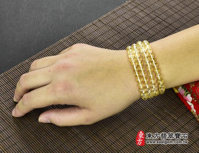 黃水晶天然玉石珠串手鍊大小示意圖  黃水晶手鍊(黃水晶珠子,珠徑約7mm,OYB019) 客製化設計各種黃水晶珠串、黃水晶珠子、黃水晶手鍊、黃水晶手珠。★附東方翡翠寶石保證卡