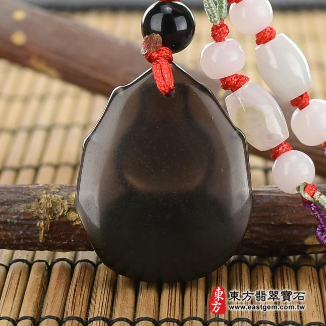 黑曜石葫蘆項鍊玉珮背面照片