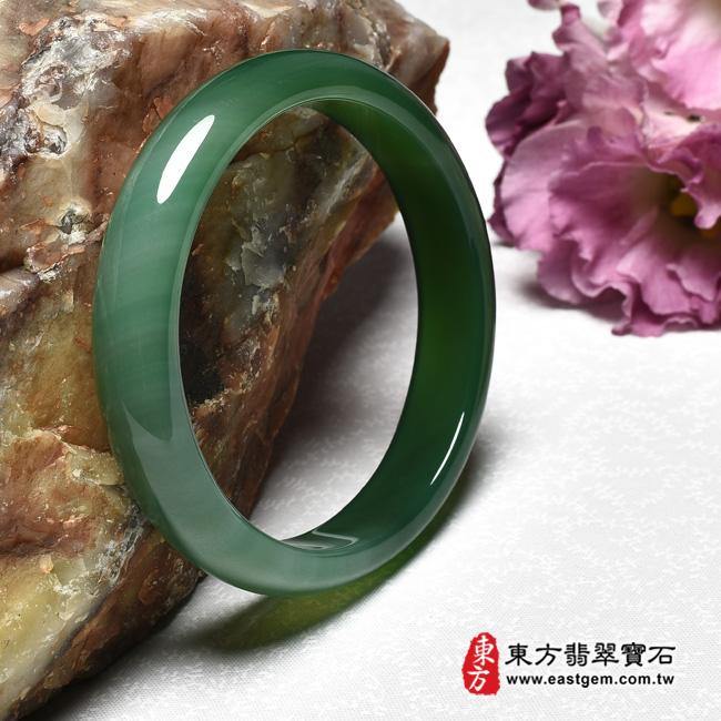 綠玉髓手鐲右側照片  綠玉髓手鐲、綠瑪瑙手鐲(綠色,圓鐲19,RG003)。客製化訂做各種綠瑪瑙手鐲★附東方翡翠寶石證書