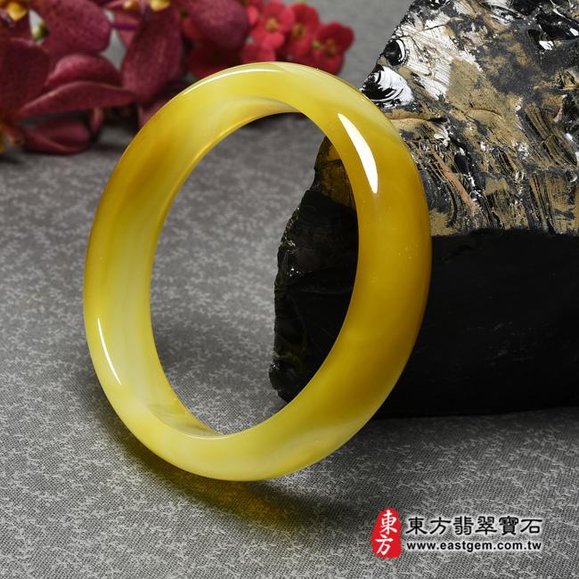 黃玉髓手鐲左側照片  黃玉髓手鐲、黃瑪瑙手鐲(黃色,圓鐲18.5,RY001)。客製化訂做各種黃瑪瑙手鐲★附東方翡翠寶石證書