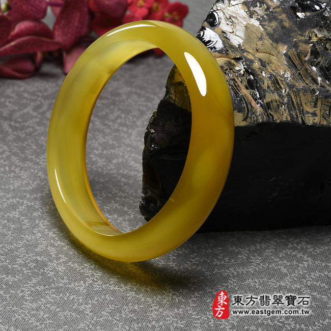 黃玉髓手鐲左側照片  黃玉髓手鐲、黃瑪瑙手鐲(黃色,圓鐲18.5,RY002)。客製化訂做各種黃瑪瑙手鐲★附東方翡翠寶石證書
